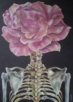 Flower Power by Marie-Josee Noel Steam Punk, Collages, Festivals, The Rocky Horror Picture Show, Grunge, Flower Skull, Kawaii, Skull And Bones, Memento Mori