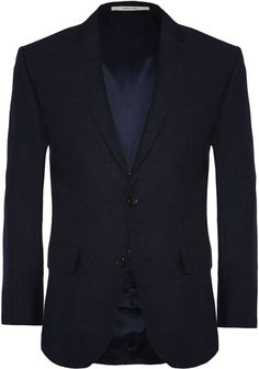 $367, Navy Wool Blazer: Club Monaco Navy Wright Slim Fit Wool And Silk Blend Blazer. Sold by MR PORTER. Click for more info: http://lookastic.com/men/shop_items/181152/redirect