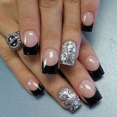 Such fun ~ black and pink lacquer nails ~ The Rose Garden