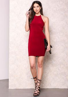 Burgundy Minimalist X Strap Bodycon Dress - Going Out - Dresses