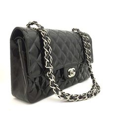 de49ffa46646 Chanel 2.55 Reissue Classic Quilted Medium Double Flap Black Patent Leather Shoulder  Bag - Tradesy Chain