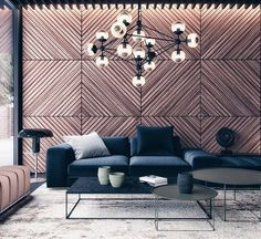 modo chandelier, wood panel wall, metal coffee table, fabric sofa; they created the best industrial modern look. . . . . #instyle #modern…