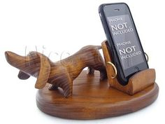 DACHSHUND Wooden Holder Stand for cell phone
