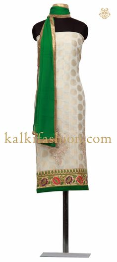 Buy it now http://www.kalkifashion.com/unstitched-suit-in-off-white-with-zari-and-gold-thread-embroidery.html Unstitched suit in off white with zari and gold thread embroidery