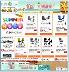 Great Summer Promo on OFFICE CHAIRS @ Lazada Shop Online - Summer Sale! Get 10% Off  with a Minimum Purchase of 2,000.00 to our OFFICE CHAIRS using Voucher Code:SUMMER10 Applicable on LAZADA APP! Promo is Today Only! Free Delivery Anywhere in Philippines! Credit Card Payments Accepted! Cash On Delivery! http://www.lazada.com.ph/catalog/?q=office+chair+cost+u+less