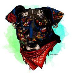 Negro Matapacos, el famoso perro chileno, inspira a los artistas y una campaña de adopción especial Fantasy Creatures, Baby Love, Chile, Body Art, Fan Art, Stickers, Drawings, Beer, Painting