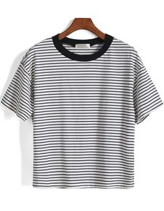 Shop Short Sleeve Striped Loose White T-Shirt online. SheIn offers Short Sleeve Striped Loose White T-Shirt & more to fit your fashionable needs.