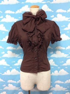 Chocolita Ribbon Blouse in Brown from Baby, the Stars Shine Bright - Lolita Desu