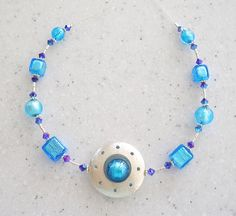 Aqua Venetian Glass with Purple and Silver Wire by ksodesign