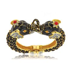 Double Black Elephant Bracelet by Kenneth Jay Lane at HAUTEheadquarters.com