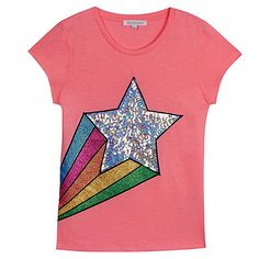 A bright and fun addition to a girl's collection, this bluezoo t-shirt is great for teaming with daytime looks. Featuring a shooting star design with pretty glittery and sequinned detailing, it has been made from a cotton blend fabric for added comfort.