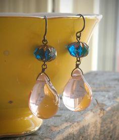 rose petal drops earrings czech glass beads & by valbdesigns, $22.00