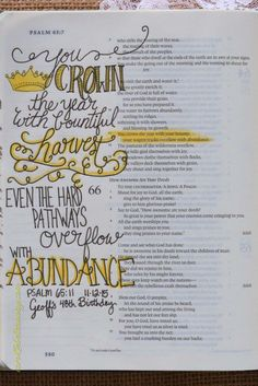 Psalm 65:11 November 12, 2015 carol@belleauway.com, hand lettering, bible art journaling, journaling bible, illustrated faith