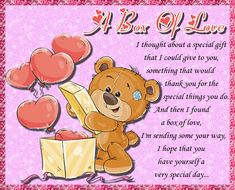 Send someone you love a box of love to make their day special. Free online A Box Of Love ecards on Love I Have No One, One Wish, Say I Love You, Love You So Much, You Are Special, Special Day, Special Gifts, Valentine Day Cards, Valentines