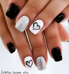 The Stunning Summer Nail Art Designs For Short Nails – Nail Art Connect Loading. The Stunning Summer Nail Art Designs For Short Nails – Nail Art Connect Cute Acrylic Nails, Acrylic Nail Designs, Black And White Nail Designs, Black White Nails, Nail Designs With Hearts, Toe Nail Designs, Black Gel Nails, Manicure Nail Designs, Black Nail Art