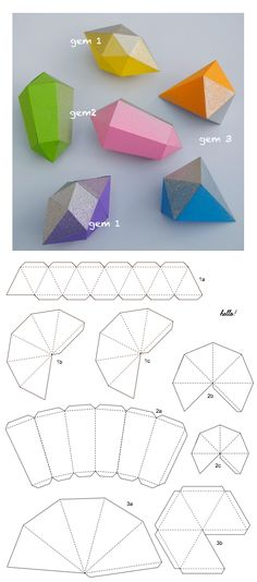 gems (+ templates) papier fragile gems, add glitter or metallic spray paint!papier fragile gems, add glitter or metallic spray paint! Diy And Crafts, Crafts For Kids, Arts And Crafts, Foam Crafts, Origami Paper, Diy Paper, Diy Origami, Origami Folding, 3d Paper Crafts