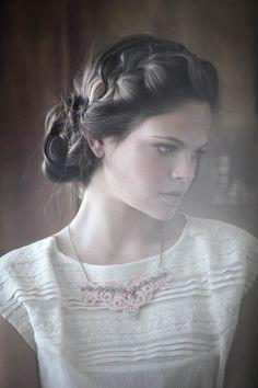 FOLKLORE Statement lace necklace Fabric Jewelry Collar by Kululush, $80.00