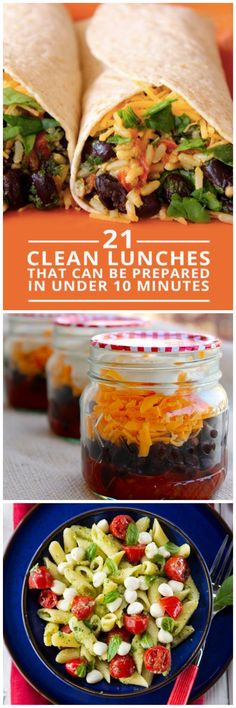 21 Clean Lunches Prepared in Under 10 Minutes - eat clean all day long! #cleaneating #lunches #mealplanning @smashleyolson