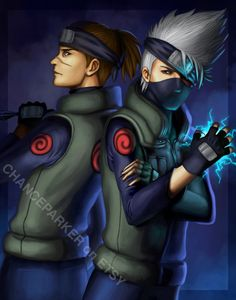 """Kakashi and Iruka - Naruto Fanart - 11x14"""" Print. $10.00, via Etsy.    You can see the rest of this artists work here:  http://www.etsy.com/shop/chanceparker?ref=seller_info"""