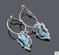 HOAU 1Pair Blue Crystal Rhinestone Enamel Butterfly Dangle Hoop Earrings