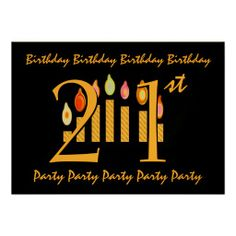 21st  Black & Gold Birthday Party Invitation