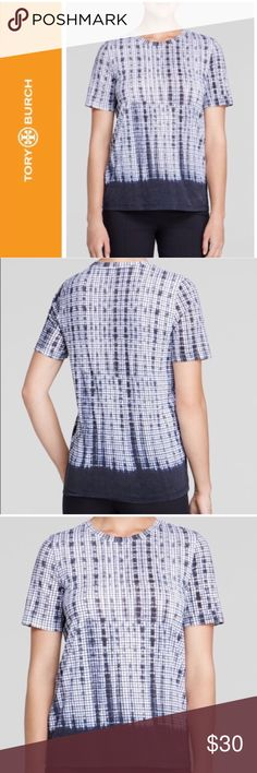 """🍉 Tory Burch Grid Print Tee Shirt Modern graphic grid print on this super soft Pima cotton tee from designer Tory Burch. Wear with jeans or trousers. Size XS. Approx 25"""" long and 18"""" across the chest when laying flat. Retails for $150. In excellent condition. Tory Burch Tops Tees - Short Sleeve"""