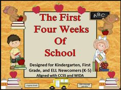 """The First Four Weeks of School Unit is a """"must have"""" for an early primary teacher. It has everything you need to get your school year off to a great start. Template portraits of each specialty teacher, school nurse and principal are provided with compatible poems and activities. Introduce your new students or ELL newcomers to the school's environment, people and vocabulary. A quick beginning of the year assessment is provided so you can have a benchmark grade for each child in the class."""
