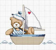Schema punto croce Orsetto barca