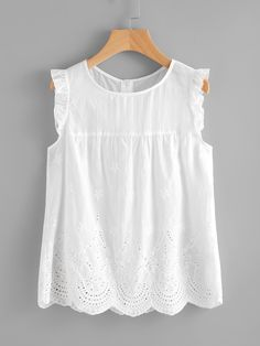 Vacation and Preppy Scallop and Cut Out and Button and Frill Plain Top Regular Fit Round Neck Sleeveless White Eyelet Embroidered Scallop Hem Frilled Shell Top Fashion News, Fashion Outfits, Fashion Fashion, Vintage Fashion, Shell Tops, Mode Boho, Plain Tops, Scalloped Hem, Mode Style