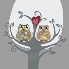 Две совы и дерево любви Фото со стока - 7913374