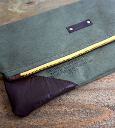Vintage Leather & Army Canvas Fold-Over Clutch