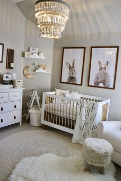 I am not a major pink fan, so my goal was to create a classy, sweet feminine nursery without it! I used a neutral white, ivory, and gray palette with a priority for texture. I love the added wood elements and how it brings the entire design together. This is definitely my favorite room in our home! Love it so much.