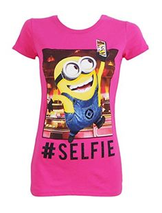 Despicable Me Junior Fit Minion # Selfie Tee Large Hot Pink My Minion, Minions, Minion Shirts, Selfie Time, Despicable Me, My Outfit, Hot Pink, Tees, Montana