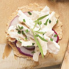 Creamy Tarragon Chicken Salad on whole-grain crackers Menu | MyRecipes.com  Chicken Salad no Crackers: 6PP (could be modified by using fat-free Greek yogurt and reduced-fat or fat-free mayonnaise);  Steamed Sugar Snap Peas: 0PP plus butter points;  Crackers: 3-ish PP, depending on cracker
