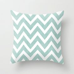 This would be great in my walk in closet. robins egg blue chevron Throw Pillow by Her Art | Society6