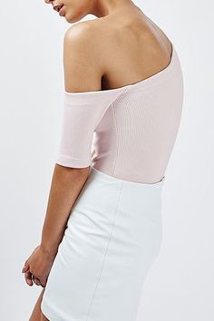 Womens ice pink asymmetric ribbed body by boutique - pink, pink from Topshop - £28 at ClothingByColour.com