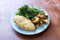 Mozzarella and Pesto Crusted Chicken with Roasted Potatoes and Green Salad Recipe | HelloFresh