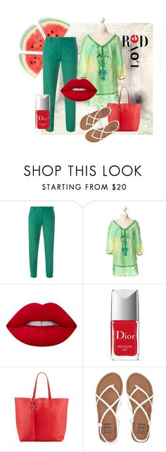 """""""Split-complementary"""" by isha-chixee on Polyvore featuring Vanessa Bruno, Hale Bob, Lime Crime, Christian Dior, Alexander McQueen and Billabong"""