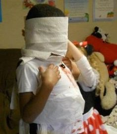 We did this at a Harvest Party in pairs. You have to wrap your partner up like a mummy with toilet paper. Very fun and the kids enjoy it, especially when adults participate too! Kids Halloween Games www.therapyforyourchild.com