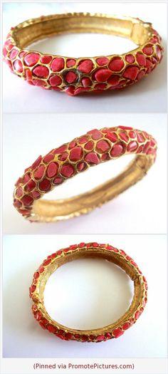 Genuine Coral SWOBODA Hinged Bracelet, Gold Plated, Embedded Nuggets, Vintage #bracelet #bangle #swoboda #coral #genuinecoral #goldplate #hinged #vintage https://www.etsy.com/RenaissanceFair/listing/570554900/genuine-coral-swoboda-hinged-bracelet?ref=listings_manager_grid  (Pinned using https://PromotePictures.com)