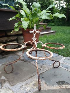 RESERVED for AMY pair Wrought iron vintage garden plantesr with fleur de lis 1950s
