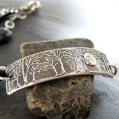 Moonlight No. 2 Moon and Trees Bracelet Handmade by SilverWishes
