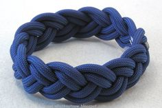 paracord rope bracelet blue nylon narrow turks head knot