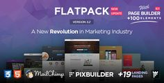 """FLATPACK – Marketing Landing Pages Template With Page Builder: """"FLATPACK"""" is the BIGGEST HTML Marketing Landing Pages Pack ever made on Themeforest, includes +19 TOTALLY DIFFERENT Landing Pages Layouts with a Page Builder that allows you to create Unlimited Pages with Unlimited Possibilities, with more than 100 Elements you can use to make an awesome landing page in minutes with a Form or a Subscription via MailChimp integration, that will be definitely A New Revolution in Marketing Industry…"""