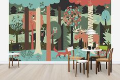 In the Forest - Turquoise - Wall Mural & Photo Wallpaper - Photowall Kids Wallpaper, Photo Wallpaper, Kids Salon, Turquoise Walls, Kids Decor, Home Decor, Modern Wall, Classroom Decor, Wall Murals