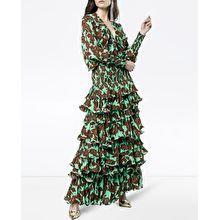 Johanna Ortiz Tribal Print Silk Maxi Dress In Green Tribal Prints, Green And Brown, Wrap Dress, Silk, Humor, Shopping, Dresses, Fashion, Clothing