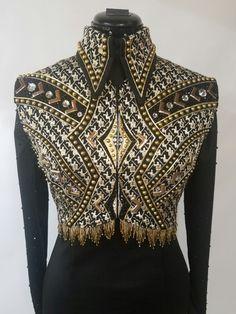 Black & Gold bolero vest by A Winning Attitude Show Apparel
