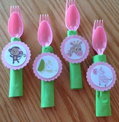12 Jungle Jill Monkey Baby Shower Decorations, Napkin with fork and spoon on Etsy, $8.50
