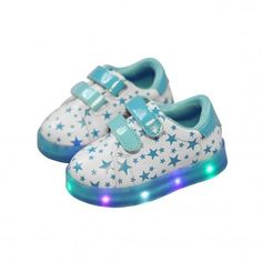 * Fluorescent star pattern<br /> * Hook and loop closure<br /> * Colorful LED lights<br /> * Non-rechargeable ( provide several days for lighting time )<br /> * Material: PU, Rubber<br /> * Do not wash, wipe clean<br /> * Imported<br /> <br /> Finish off toddler's look in charming style with this cute design. This comfortable sneaker dazzle thanks to a LED light-up sole and fluorescent star design that...