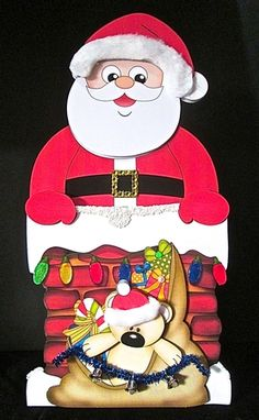 3D On the Shelf Card Kit - Christmas Santa is taking the Presents down the Chimney - Photo by Cynthia Massey - Unique Hand Made Cards